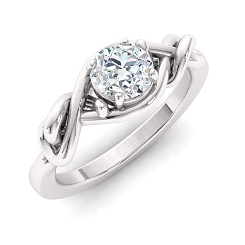 Diamondere Natural and Certified Diamond Engagement Ring in 14K White Gold | 0.41 Carat Diamond Knot Solitaire Ring for Women, US Size ()