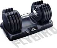 FLYBIRD Adjustable Dumbbell,25 lb Single Dumbbell for Men and Women with Anti-Slip Metal Handle,Fast Adjust We