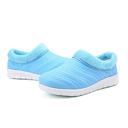 Homme Mules Hishoes Outdoor Chaussures Femme 36 Chaud Pantoufles Imperméable Coton Doublure Chaussures 44 Hiver Loisirs Bleu Intérieure Peluche Bqqpf54