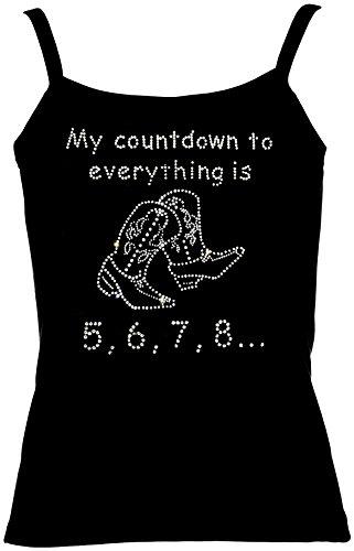 elegantes Damen Shirt Line Dance Spruch My Countdown to everything is 5, 6, 7, 8 Strass Western Line Dance Shirt, Spaghetti-Top, Grösse XXL, weiss