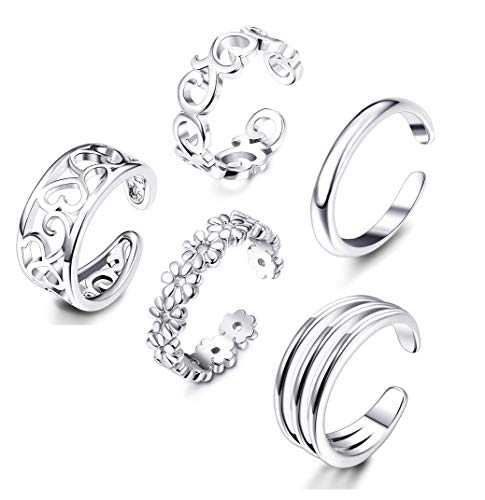 Tone Toe Ring Silver Silver (Adramata 5 Pcs Open Toe Rings for Women Girls Adjustable Flower Celtic Knot Simple Toe Ring Gifts Jewelry Set)