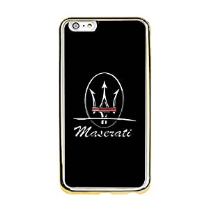 Fantasy Maserati Logo Phone Case TPU Golden Border Soft Protector for Iphone 6 Plus/6s Plus (5.5 inch) with Maserati Logo
