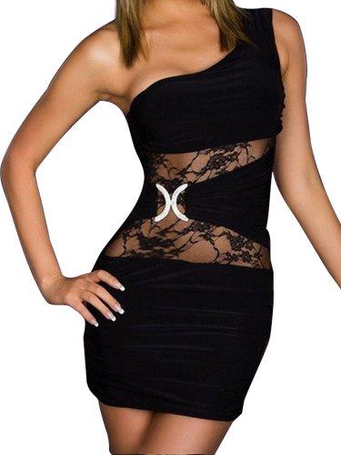 Rainmary sexy Abend Party clubwear Kleid - Mini-Abend-Kleid in verschiedenen, Black, S M