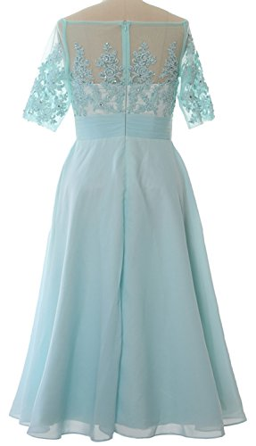MACloth Women Off Shoulder Mother of Bride Dress Tea Length Formal Evening Gown Marrón