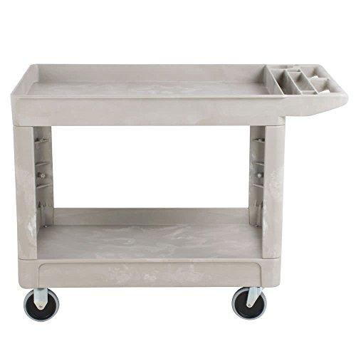 Rubbermaid Commercial Heavy Duty 2-Shelf Utility Cart, Flat Handle, Lipped Shelves, Medium, Beige (FG452089BEIG) (Cart Shelf Flat)