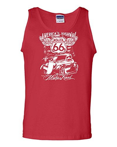 Route 66 America's Highway Tank Top The Mother Road Muscle Shirt Red - Americas Motorcycle Route Highway 66