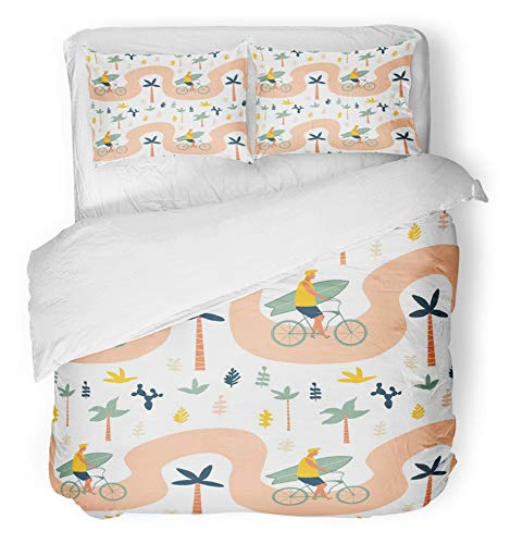 Emvency 3 Piece Duvet Cover Set Brushed Microfiber Fabric Breathable Surfer Bicycle Rider with Surfboard on The Beach Funny Cartoon Character Young Bedding Set with 2 Pillow Covers King Size -
