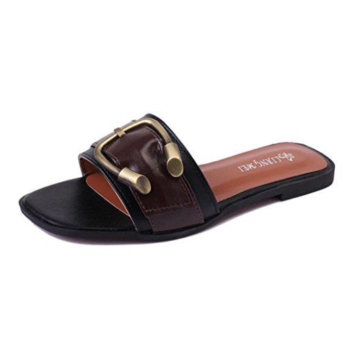 Flip römischen Damen Peep Schuhe Hunpta Sommer Sandalen Toe Flops Damen Schwarz Halbschuhe BqxYz
