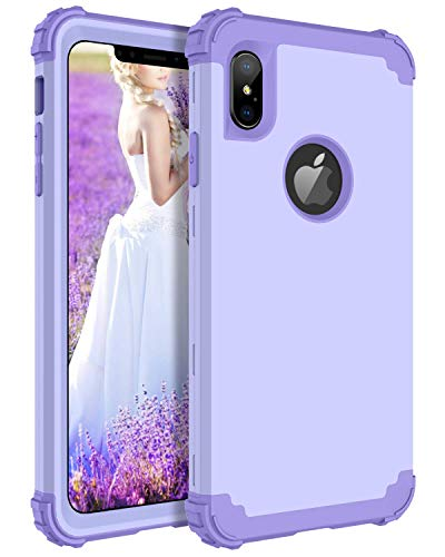 BENTOBEN Case for iPhone Xs Max, 3 in 1 Hybrid Heavy Duty Shockproof Hard PC Full Body Protective Cover Soft Silicone Interior Anti-Scratch Combo Cases for Apple iPhone Xs Max, Lavender Light Purple