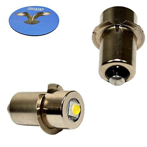 HQRP 2-Pack LED Upgrade Bulb for Hitachi 318767 UB18D UB18DAL Flashlight, 100LM 7-30V + HQRP Coaster