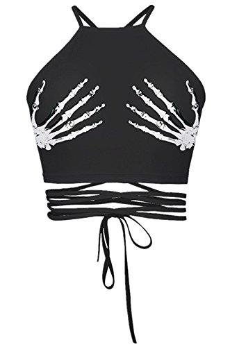 NAYINLAN Women Halter Crisscross Bandage Print Camis Crop Top Vest Shirt,Skull (Criss Cross Halloween)