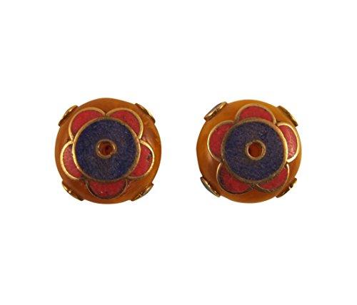 Zen Canyon Large Rondelle Round Flat Amber and Brass Nepal Tibetan Beads 7/8