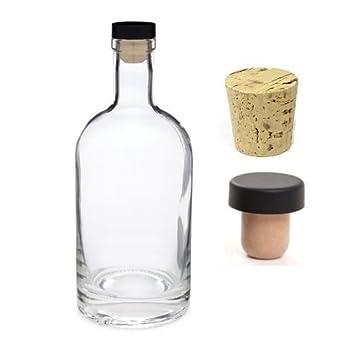 Nakpunar 25 oz Heavy Base vidrio de licor botella con corcho sintético T-Top con