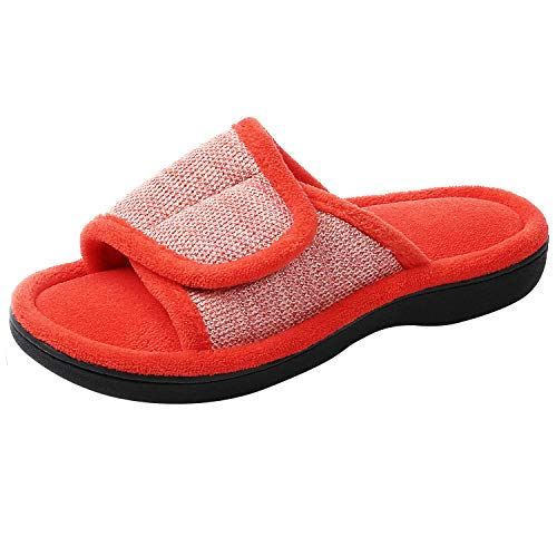 RockDove Women's Velcro Memory Foam Slide, Size 7-8 US Women, Lobster Red ()