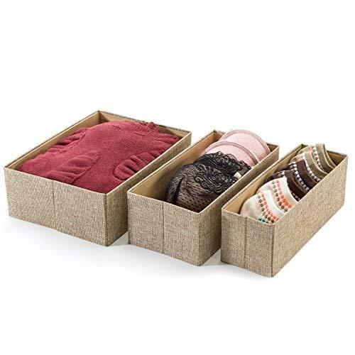 Foldable Underwear Organizer Drawer Divider - Set of 3, Decorative Closet Organizer Bins Fabric Drawer Dividers, Great for Storing Underwear & Socks for Men Women and Baby (Beige)