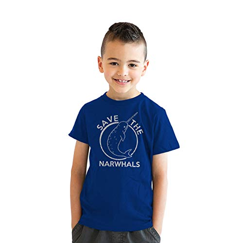 Youth Save The Narwhals Tshirt Funny Narwhal Unicorn Shirt for Kids (Blue) - L