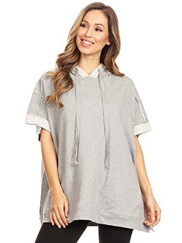 (Anna-Kaci Womens Oversized Short Sleeve Hoodie Side Slits Pullover Sweater Top, Grey, Large)
