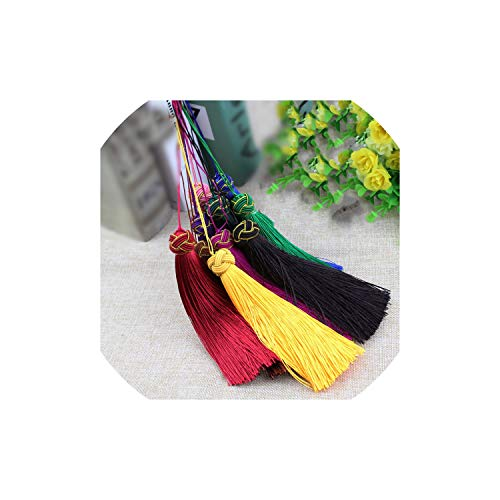 10Pcs 14Cm Polyester Silk Tassel Earrings Charms Chinese Knot Cotton Tassels for DIY Jewelry Making,Blackish Green Double Happiness Green Pendant