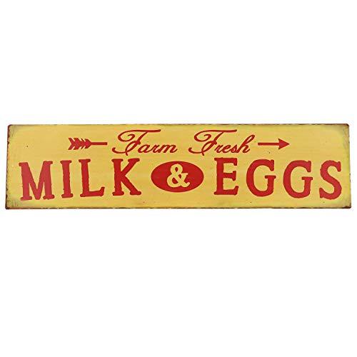 Barnyard Designs Farm Fresh Milk & Eggs Retro Vintage Tin Bar Sign Country Home Decor 15.75 x 4