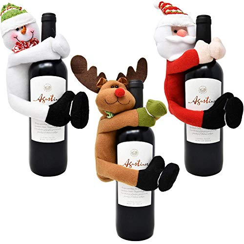 Gift Boutique Christmas Wine Bottle Cover Hugger Holder 3 Pack Santa Snowman and Reindeer Design for Home & Kitchen Holiday Party Table Decorations Gift Wrapping Supplies Accessories