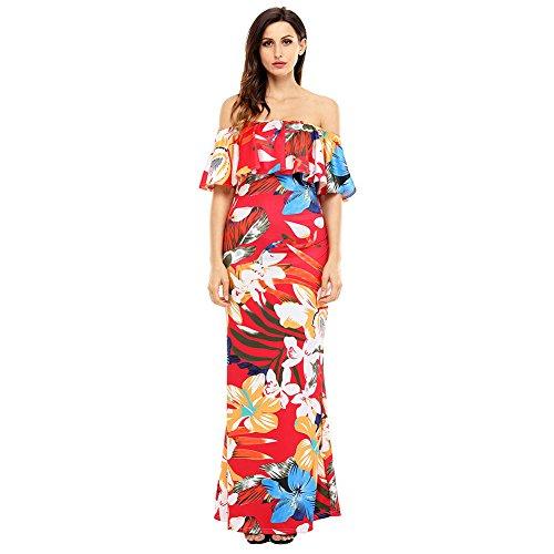 Palla senza Donna abito Vestito spalline Red elegante amp;S maxi lunga Prom abito MEI sera LSM collare Party Vintage wUzp0qq