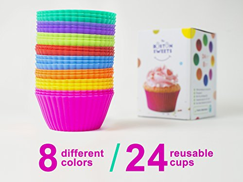 The Boston Sweets Silicone Cupcake Liners - 24 Pack Baking Cups- EIGHT colors - Reusable & Nonstick Muffin Molds - Cupcake Holders Gift set - Pink Purple Blue Red Green Fun Green Yellow Orange Muffin]()
