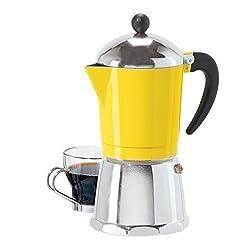 6 Cup Cast Aluminum Stovetop Espresso Maker (355 ML./12 Oz.), Yellow