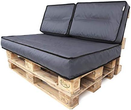 TS Palettenkissen Palettenauflagen Sitzkissen Rückenkissen Auflage Kissen Euro Paletten (120x80x12cm (Sitzkissen), Dunkelgrau)