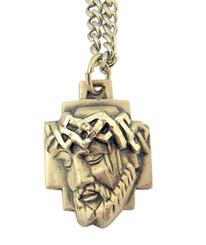 Sterling Silver Crown of Thorns Ecce Homo Medal Pendant, 1 Inch ()
