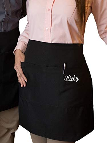 1 new black server apron 3 pocket waist waiter waitress restaurant Custom name