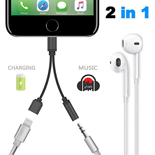 2-in-1-Lightning-Adapter-for-iPhone-7-7-Plus-ALOOK-Lightning-Charger-and-35mm-Earphone-Jack-Cable-No-Music-Control-for-iPhone-77-Plus6s65s5-Silver