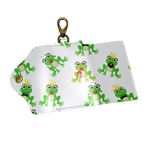 - Cute Frog Prince Or Princess Pattern Key Organizer Case Wallets Unisex Keychain Key Holder Ring with 6 Hooks