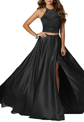 Black Beaded Silk Dress (Beauty Bridal Women's Two Pieces Prom Ball Gown Beaded Scoop Neckline Evening Formal Dresses Long 2018 S040 (4,Black))