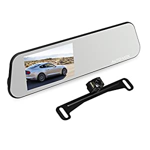 AUTO-VOX M6 Dash Cam Backup Camera Kit HD Mirror Cam with Motion Detection, IP 68 Waterproof LED Night Vision Reverse Rear View License Plate Back up Car Camera and FHD 1080P 4.5'' Touch Screen