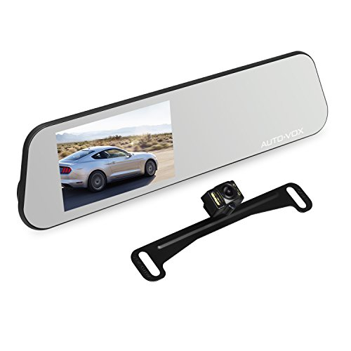 AUTO-VOX M6 Dash Cam Backup Camera Kit HD Mirror Cam with Motion Detection, IP 68 Waterproof LED Night Vision Reverse Rear View License Plate Back up Car Camera and FHD 1080P 4.5'' Touch Screen by AUTO-VOX (Image #2)