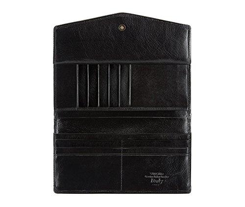 WITTCHEN portafoglio, Nero, Dimensione: 9x18.5 cm - Materiale: Pelle di grano - 21-1-079-1