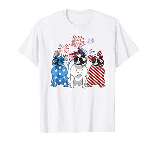 Red White Blue French Bulldog USA Flag 4th Of July Shirt
