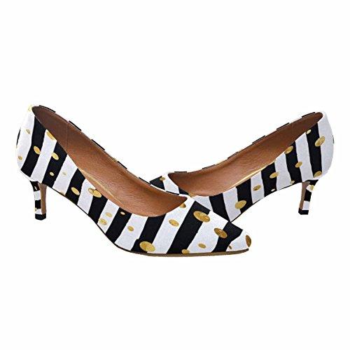 Tallone Basso Gattino Micio Scarpe Scarpe Col Tacco A Punta Oro Modello Confetti Su Sfondo Striscia Multi 1