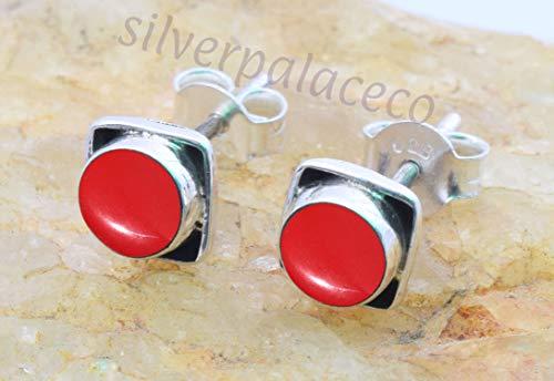 Coral Stud - 925 Sterling Silver Red Coral Stud Earrings- Girl Women Red Coral Stone Gemstone Stud Post Earrings Jewellery