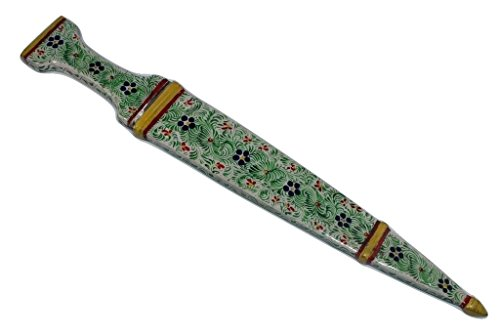 Rajasthan Gems Dagger knife Damascus steel blade Handmade Enamel Cloisonne on Handle Sheath 14′