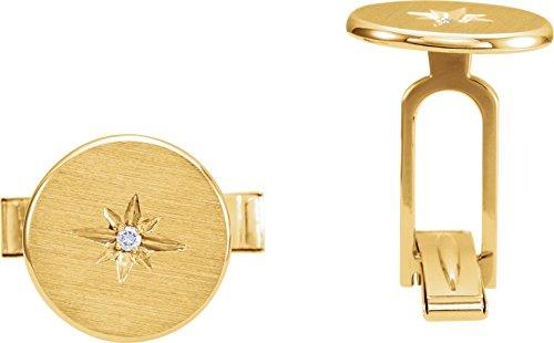 14k Yellow Gold 0.03 ctw. Diamond Starburst Men's Cuff Links