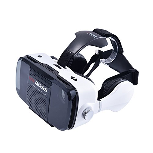 SHULANTONGDA - VR BOSS VR Box 3D Glasses with MIC & Earpiece; 3D VR Virtual Reality Headsets 3D Video Game Glasses For 4.7 to 6.2 Inch Smartphones iPhone Samsung Cellphones