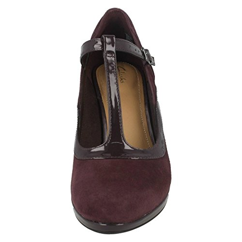 Clarks Damen Chorus Pitch T-Spangen Pumps Aubergine