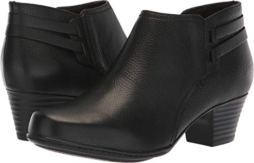 CLARKS Women's Valarie2Ashly Fashion Boot, Black Leather, 065 M US (Cheap Fashion Boots)