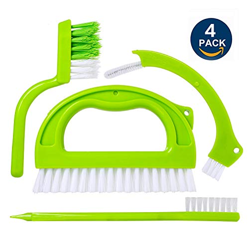 The Best Bathroom & Kitchen Tiles and Joints Cleaning Tool - 4 in 1 Grout Cleaner Brush - Stiff Angled Bristles Make Cleaning Joints and Grooves Easy