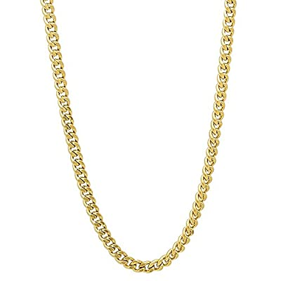 """Wholesale The Bling Factory 1.6mm-8mm Men's/24k Yellow Gold Plated Flat Cuban Link Curb Chain 7""""-36"""" + Microfiber Jewelry Polishing Cloth hot sale"""