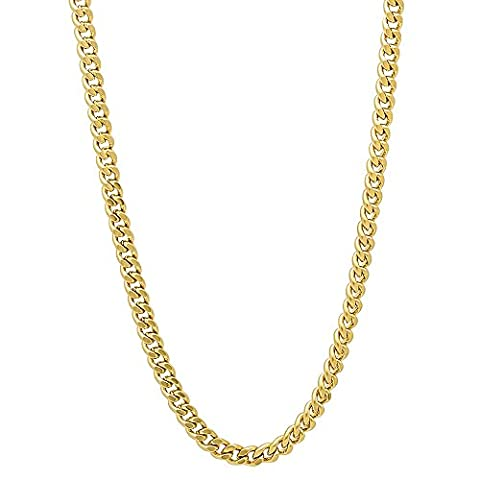 3mm Gold Plated Flat Cuban Link Curb Chain Necklace, 24
