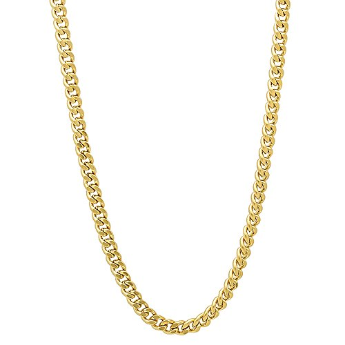The Bling Factory 3mm Gold Plated Flat Cuban Link Curb Chain Necklace, 30