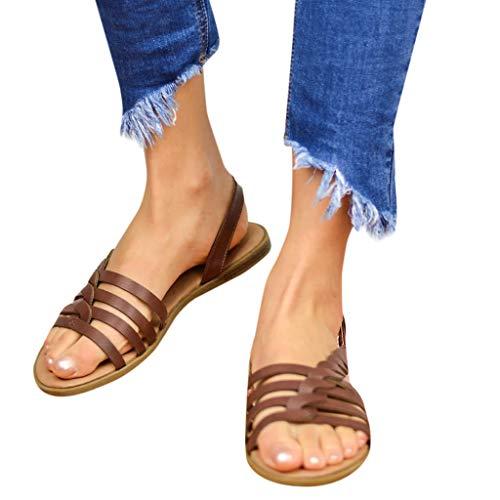 Amlaiworld Women Sandals Ladies Cross Strap Ankle Buckle Braided Cushioned Sandals Roman Shoes Summer Beach Sandals Coffee