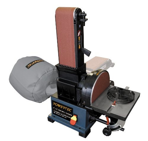 POWERTEC BD4800 Woodworking Belt Disc Sander w/ Built-In Dust Collection, 4 x 8-Inch